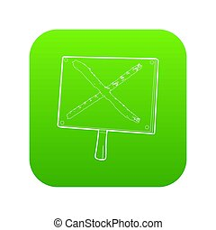 Cross sign icon green