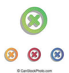 Cross sign illustration. Colorfull applique icons set.