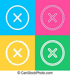 Cross sign illustration. Four styles of icon on four color squares.