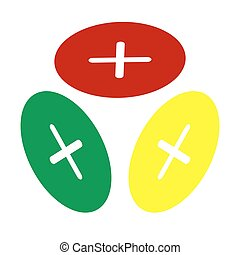 Cross sign illustration. Isometric style of red, green and yellow icon.