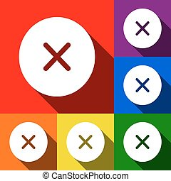 Cross sign illustration. Vector. Set of icons with flat shadows at red, orange, yellow, green, blue and violet background.