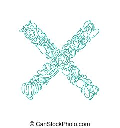 Cross sign symbol Vegetable pattern set illustration kids hand drawing concept design green color, isolated on white background, vector eps 10