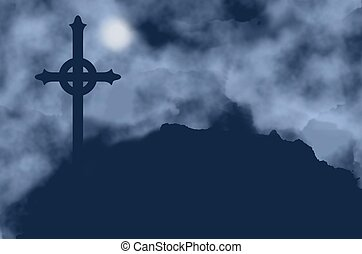 Cross silhouette and moon on a foggy night