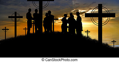 cross silhouette and the clouds at sunset