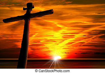 Cross Silhouette at the Sunset - Cross silhouette at the ...