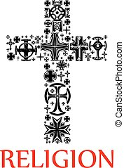 Cross silhouette made up of religious crucifixes