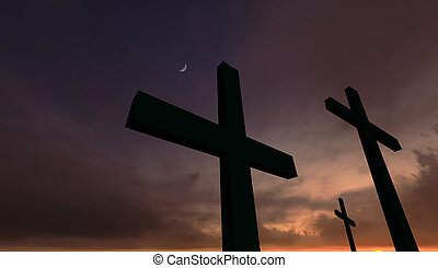 Three crosses depicting Calvary in front of a red dramatic sky