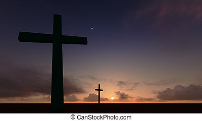 Twp crosses depicting Calvary in front of a red dramatic sky