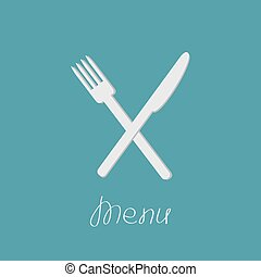 Cross silver fork and knife. Menu cover in flat design style.