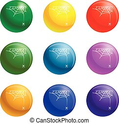 Cross spider web icons set vector - Cross spider web icons...