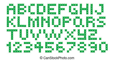 A cross stitch alphabet and numbers on a white background.