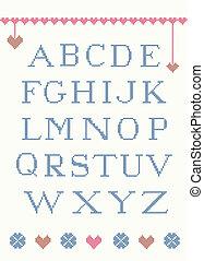 Cross stitch alphabet with design elements suitable for...