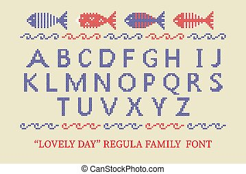 Cross stitch alphabet typeface poster. Good idea for summer, holiday, memorial Independence day posters, textile design.