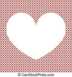 Cross-stitch background with heart.