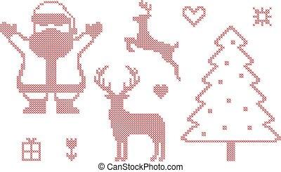 Cross stitch Christmas symbols, vector