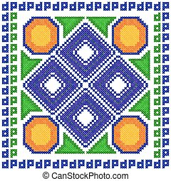 Cross Stitch Embroidery Geometrical design for seamless pattern texture