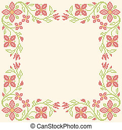 Cross-stitch embroidery in Ukrainian style - Floral frame...