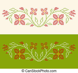 Cross-stitch embroidery in Ukrainian style - Design elements...
