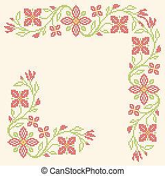 Cross-stitch embroidery in Ukrainian style