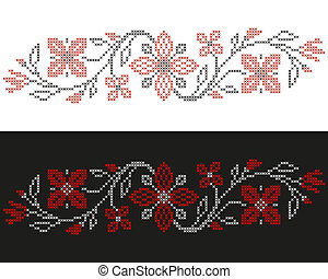 Cross-stitch embroidery in Ukrainian style