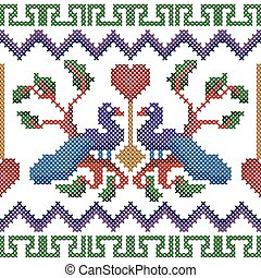 Cross Stitch Embroidery peacock design for seamless pattern texture