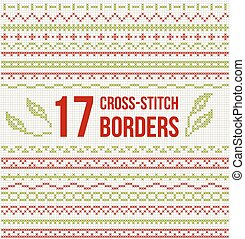Cross-stitch embroidery - set of borders