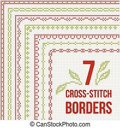 Cross-stitch embroidery - seven thin borders