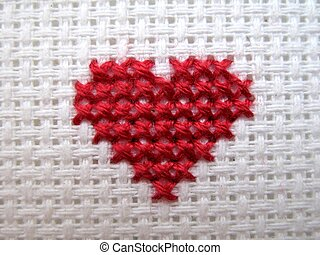 Cross Stitch Heart - red cross stitch heart on white fabric