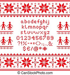 Cross stitch lowercase alphabet with numbers and symbols pattern, embroidery design