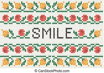 Cross stitch pattern  with elements of folk embroidery and word SMILE