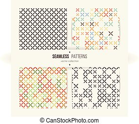 Cross stitch seamless pattern set.