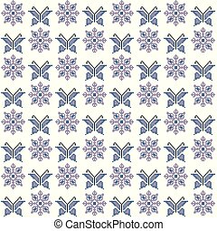 Cross stitch seamless pattern, traditional embroidery with butterflies and flowers