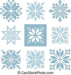 Cross stitch snowflakes pattern