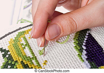 Cross-stitch - The process of working on a piece of...
