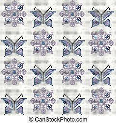Cross stitch traditional embroidery with butterflies and flowers