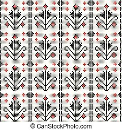 Cross stitch traditional embroidery with flowers, seamless background