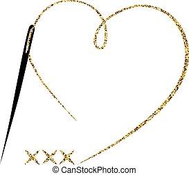 cross-stitch., wektor, ręka robiona, symbol, w, modny, kreska, style.