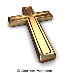 Cross - 3D Illustration of a Gilded Cross