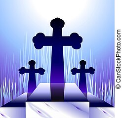 Cross - Illustration of crosses in the hill with radiant...