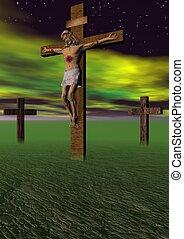 cross - Golgotha cross and sky yellow