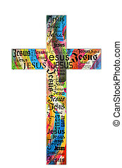 cross - A cross from the name of Jesus with bright colors