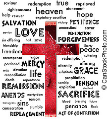 cross - A cross with English words and blood