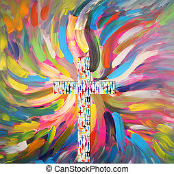 cross - A cross from colorful crosses and wings
