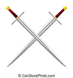 Cross Sword - Silver metal sword crossed with red handles