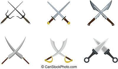 Cross sword icon set, flat style