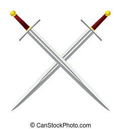 Cross Sword - Silver metal sword crossed with red handles