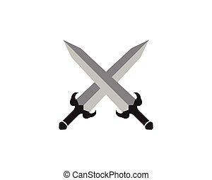 Cross swords icon flat.
