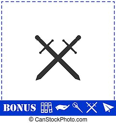 Cross swords icon flat