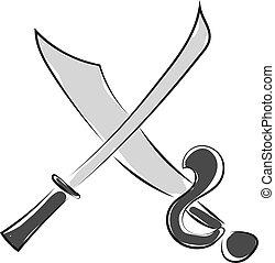 Cross swords, illustration, vector on white background.