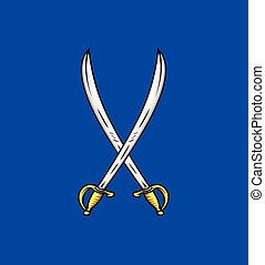 Cross Swords Vector Illustration - Cross Swords Weapons...